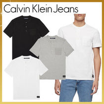 Calvin Klein Henry Neck Plain Cotton Short Sleeves Henley T-Shirts