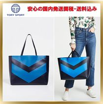 TORY SPORT A4 Plain Leather Elegant Style Totes