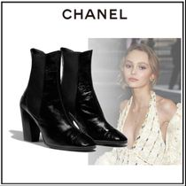 CHANEL Plain Toe Sheepskin Blended Fabrics Plain Block Heels