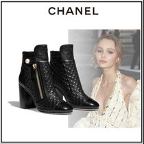 CHANEL Plain Toe Sheepskin Pin Heels Elegant Style