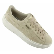 PUMA SUEDE Platform Round Toe Casual Style Unisex Suede Blended Fabrics