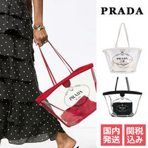 PRADA CANAPA Casual Style Crystal Clear Bags PVC Clothing Totes