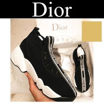 Christian Dior Plain Toe Rubber Sole Casual Style Blended Fabrics