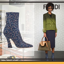 FENDI Flower Patterns Elegant Style Wedge Boots
