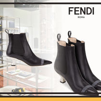FENDI Plain Leather Elegant Style Wedge Boots