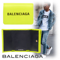 BALENCIAGA Unisex Street Style Plain Leather Folding Wallets