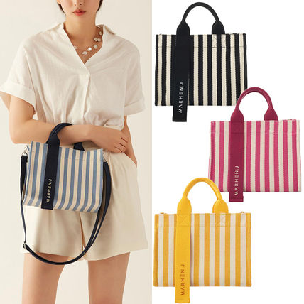 Stripes Casual Style Canvas 2WAY Crossbody Logo