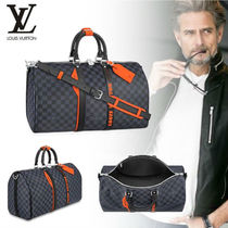 Louis Vuitton DAMIER COBALT Blended Fabrics Leather Boston Bags