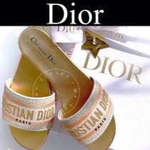 Christian Dior Stripes Open Toe Casual Style Blended Fabrics Street Style