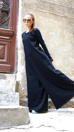 Crew Neck Maxi Long Sleeves Plain Cotton Long Handmade