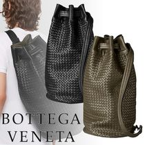BOTTEGA VENETA Calfskin A4 Plain Khaki Backpacks