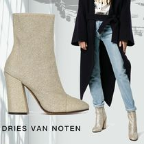 Dries Van Noten Plain Leather Block Heels Party Style Ankle & Booties Boots