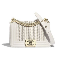 CHANEL Blended Fabrics Bi-color Chain Leather Shoulder Bags