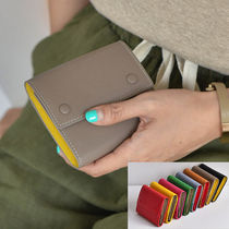Unisex Bi-color Plain Leather Folding Wallets