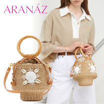 ARANAZ Casual Style Blended Fabrics Plain Leather Purses