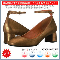 Coach Square Toe Casual Style Plain Chunky Heels