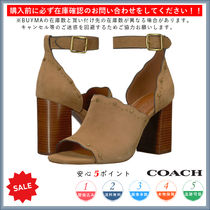 Coach Open Toe Casual Style Plain Chunky Heels