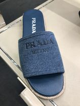 PRADA Open Toe Platform Casual Style Bi-color Plain