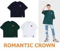 ROMANTIC CROWN Unisex Street Style Plain T-Shirts