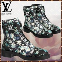 Louis Vuitton Flower Patterns Round Toe Blended Fabrics Bi-color Leather