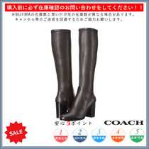 Coach Round Toe Casual Style Plain Chunky Heels High Heel Boots