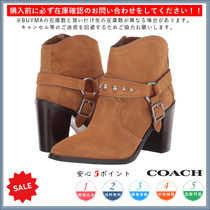 Coach Casual Style Plain Chunky Heels High Heel Boots