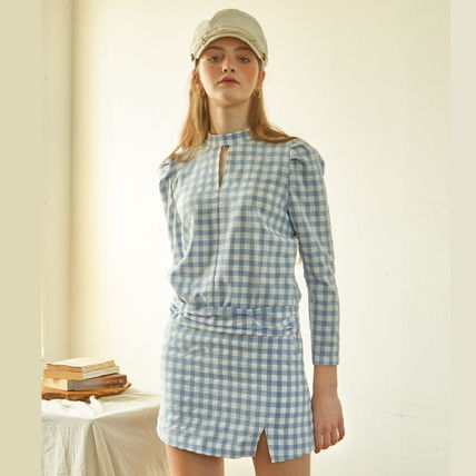 Gingham Casual Style Cropped Medium Shirts & Blouses