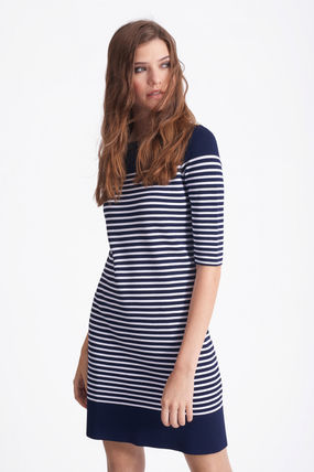 Short Stripes Casual Style Boat Neck Short Sleeves Dresses