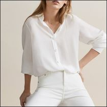 Massimo Dutti Long Sleeves Plain Medium Elegant Style Shirts & Blouses