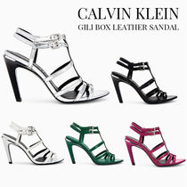 Calvin Klein Open Toe Plain Leather Pin Heels Party Style Heeled Sandals