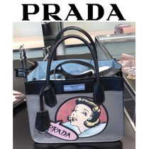 PRADA DUAL 2WAY Leather Office Style Totes