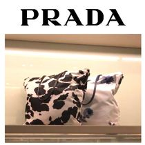 PRADA Flower Patterns Casual Style Nylon A4 Totes