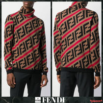 FENDI FOREVER Monogram Wool Street Style Long Sleeves Knits & Sweaters