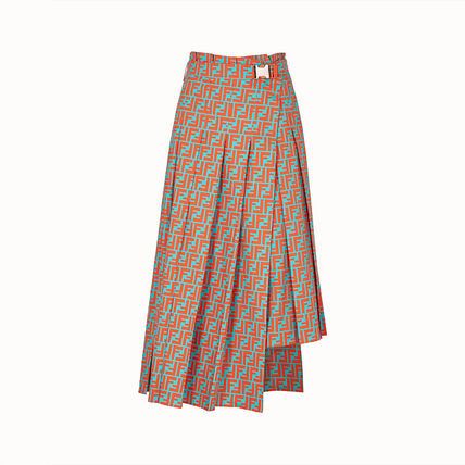FENDI Monogram Pleated Skirts Bi-color Cotton Medium Midi
