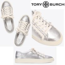 Tory Burch Plain Toe Rubber Sole Lace-up Casual Style Blended Fabrics
