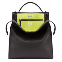FENDI PEEKABOO Calfskin 2WAY Plain Crossbody Bag Logo