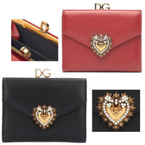 Dolce & Gabbana Blended Fabrics Leather Folding Wallets