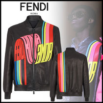 FENDI Short Street Style Plain Leather Souvenir Jackets