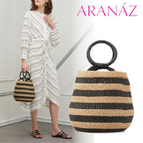 ARANAZ Stripes Casual Style Blended Fabrics Leather Handbags