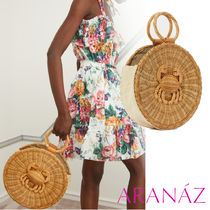 ARANAZ Casual Style Blended Fabrics Plain Leather Handbags