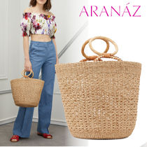 ARANAZ Casual Style Blended Fabrics Plain Leather Totes