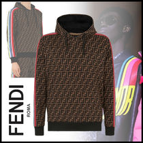 FENDI Pullovers Monogram Street Style Long Sleeves Cotton Hoodies