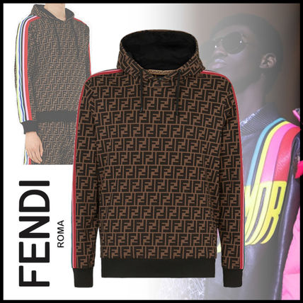 FENDI Hoodies Pullovers Monogram Street Style Long Sleeves Cotton Hoodies