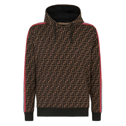 FENDI Hoodies Pullovers Monogram Street Style Long Sleeves Cotton Hoodies 2