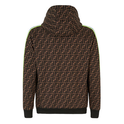 FENDI Hoodies Pullovers Monogram Street Style Long Sleeves Cotton Hoodies 3