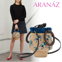 ARANAZ Tropical Patterns Casual Style Blended Fabrics Leather
