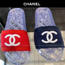 CHANEL Platform Casual Style Shower Shoes PVC Clothing Flat Sandals