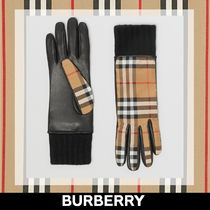 Burberry Other Check Patterns Plain Leather