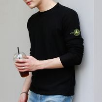 STONE ISLAND Crew Neck Long Sleeves Cotton Logos on the Sleeves