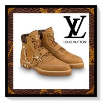 Louis Vuitton Monogram Wing Tip Mountain Boots Suede Blended Fabrics Chain
